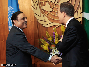 Pakistani president Asif Zardari (left) met U.N. Secretary-General Ban Ki-moon in New York.