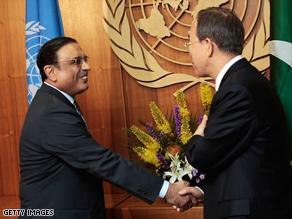 Pakistani president Asif Zardari (left) met U.N. Secretary-General Ban Ki-moon in New York.
