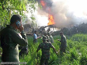 An Indonesian military transport plane crashed in east Java Tuesday morning.