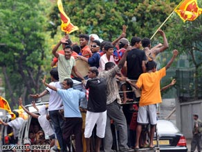 Displaced Tamil civilians at Manic farm in the northern Sri Lankan district of Vavuniya.