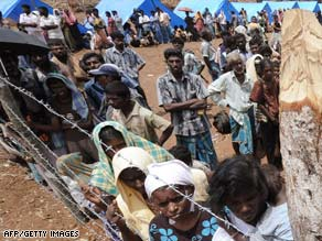 Displaced Tamil civilians at Manik farm in the northern Sri Lankan district of Vavuniya.