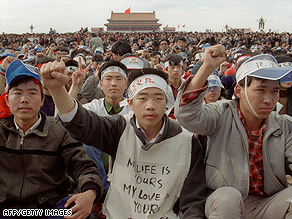 Students from Peking University demonstrate on May 18, 1989, at Tiananmen Square.