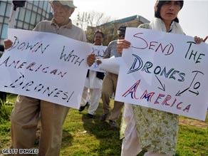 Civil rights activists protest the use of unmanned U.S. drones in Pakistan.