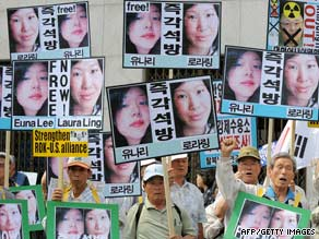 Demonstrators in South Korea last week call for the release of Laura Ling and Euna Lee.