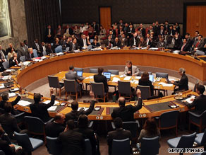 The U.N. Security Council votes for a resolution imposing sanctions against North Korea on Friday.