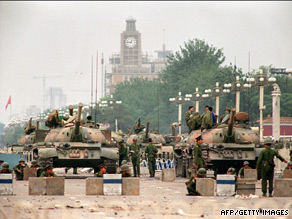 Tanks block the route to Tiananmen Square in June 1989