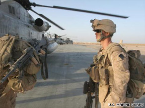 U.S. Marines prepare for Operation Khanjar at Forward Operating Base Dwyer, Afghanistan, on Thursday.