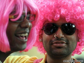 An Indian gay activist participates in a gay pride march in Bangalore on Sunday.