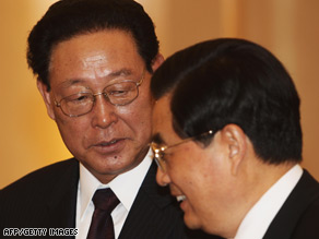 Chinese President Hu Jintao, right, and North Korean Premier Kim Yong Il meet in Beijing this past March.