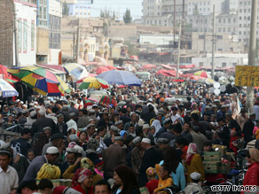 A file picture shows the main bazaar in Kashgar, western Xinjiang province.