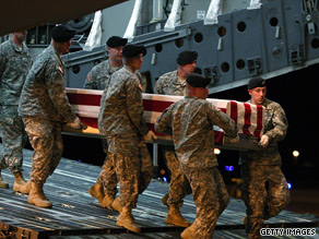 The body of a U.S. soldier killed in Afghanistan arrives in the United States on Monday.