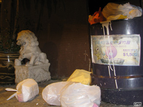 Piles of plastic bags are a common sight on street corners in Hong Kong.