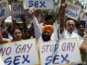 Activists protest against the ruling to decriminalize gay sex in New Delhi ...