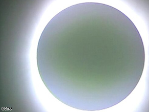 State television in China broadcast this image of the eclipse.