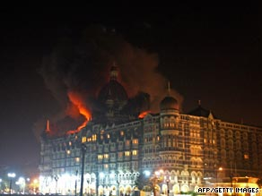 Mumbai's Taj Mahal hotel burns during last November's attack by gunmen.