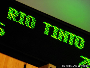 Rio Tinto signage scrolls past the opening bell at the Australian Stock Exchange in Sydney on June 5.