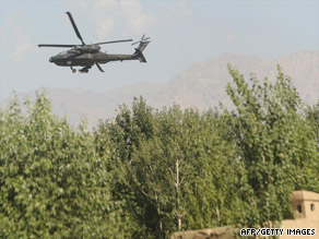 A U.S. Army helicopter banks during a gunbattle Monday in Afghanistan's Logar province.