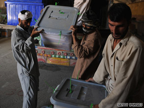 Abdullah Abudullah alleges Sunday that election workers stuffed ballot boxes with votes for his rival.