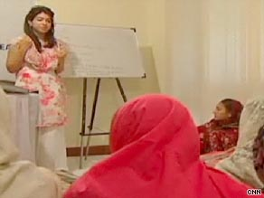 Shiza Shahid, left, a 20-year-old Stanford University student, is helping to teach young girls in Pakistan.
