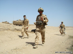 British soldiers on a patrol in Baba Ji district of Helmand province on July 26, 2009.