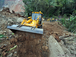 Indonesian rescuers use heavy machinery in the search effort in Cianjur in West Java on Thursday.