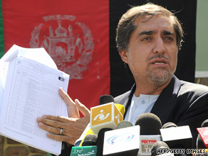 Abdullah Abdullah makes allegations of voting fraud at a news conference Saturday in Kabul, Afghanistan.