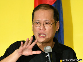 "Philippines Senator Benigno ""Noynoy"" Aquino III announce his candidacy in Manila on September 9."