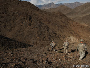 U.S troops investigate Taliban activity on February 21, 2009, in Main, Afghanistan.