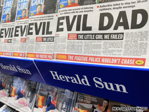 A display outside a Melbourne shop on Thursday shows rows of The Herald-Sun with its headline story.