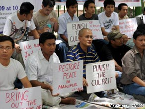 Students in Manipur state protesting about the killing of a social worker in June 2009.