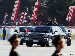 Preparations get under way in Tiananmen Square ahead of National Day festivities.