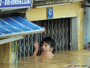 Some opportunists are charging others money to pull them on rafts through the city, Lim said.