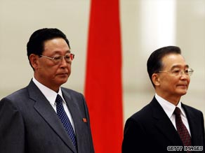Wen Jiabao (right) began a three-day visit to North Korea Sunday.