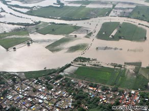 An aerial view of a flood-affected area in Bijapur district in North Karnataka, India.