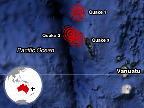 Thursday's quakes struck near Vanuatu in the South Pacific.