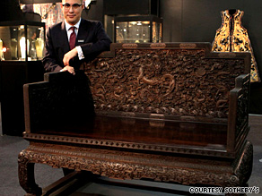 The throne, which belonged to Emperor Qianlong, sold for US $11,068,193 (HK $85,780,000).