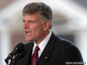 The Rev. Franklin Graham reportedly will oversee the delivery of $190,000 in equipment for a dental school.
