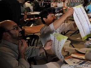 Workers of the Afghan Election Commission check ballots in Kabul earlier this month.