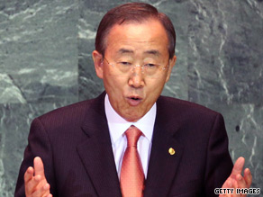 U.N. Secretary-General Ban Ki-moon has focused on global warming policy by world governments.
