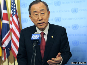 U.N. Secretary General Ban Ki-moon speaks to reporters about the run-off in Afghanistan.