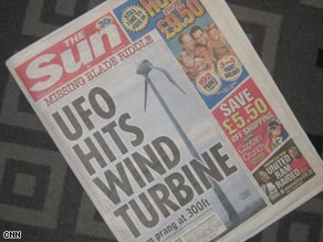 The Sun tabloid newspaper's UFO splash.