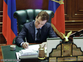 "Russian President Dmitry Medvedev said an EU-brokered gas deal is ""null and void."""