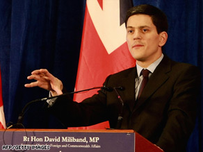 "Use of ""war on terror"" also implied a fight against a shared single enemy, David Miliband said."