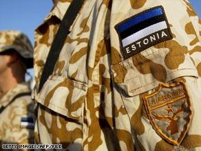 Estonian soldiers on patrol near Baghdad in 2004.