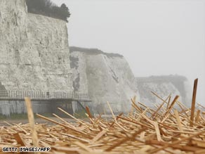 Timber washes ashore at England's famous white cliffs.
