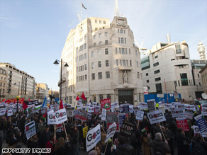 Demonstrators protest at the BBC's central London offices Saturday against the broadcaster's decision.