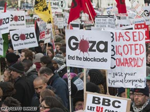 Protesters demonstrate in London Sunday against the BBC's decision not to show Gaza aid appeal.