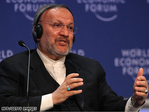 Iran's Foreign Minister Manouchehr Mottaki talks Thursday at the World Economic Forum in Davos.