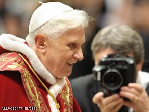 Pope Benedict XVI at a Vatican City mass Monday.