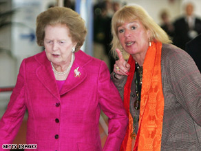 Margaret Thatcher (left) and her daughter Carol Thatcher in   Southampton, England in June 2008